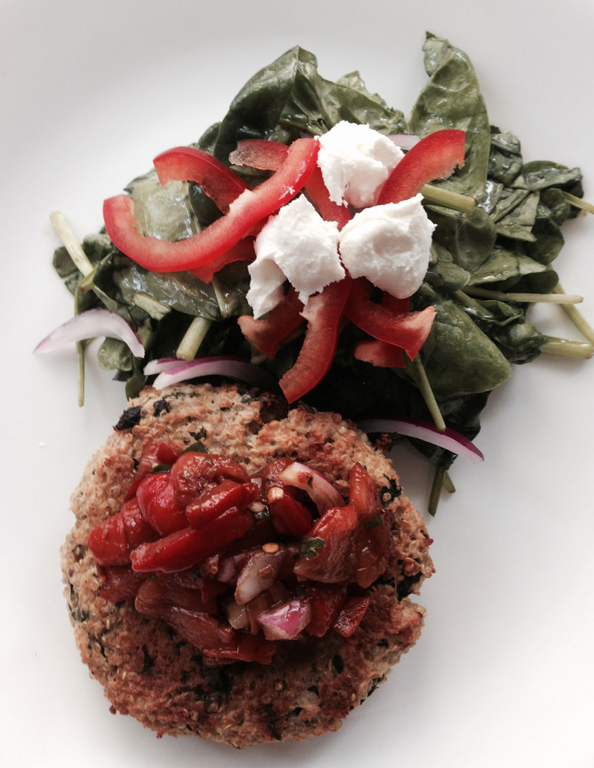 Quinoa Burger Roasted Red Pepper Relish and Spinach Salad