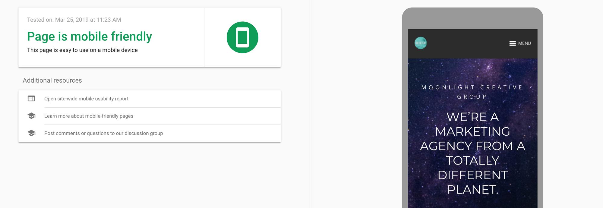 Moonlight's website passes Google's mobile-friendly test