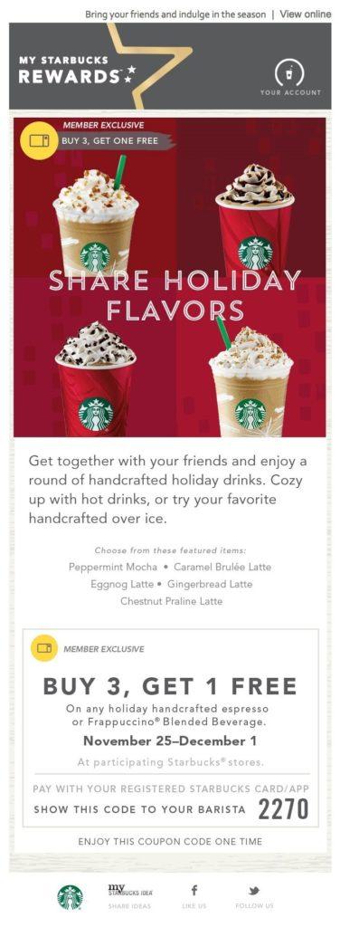 Starbucks Seasonal Promo Email