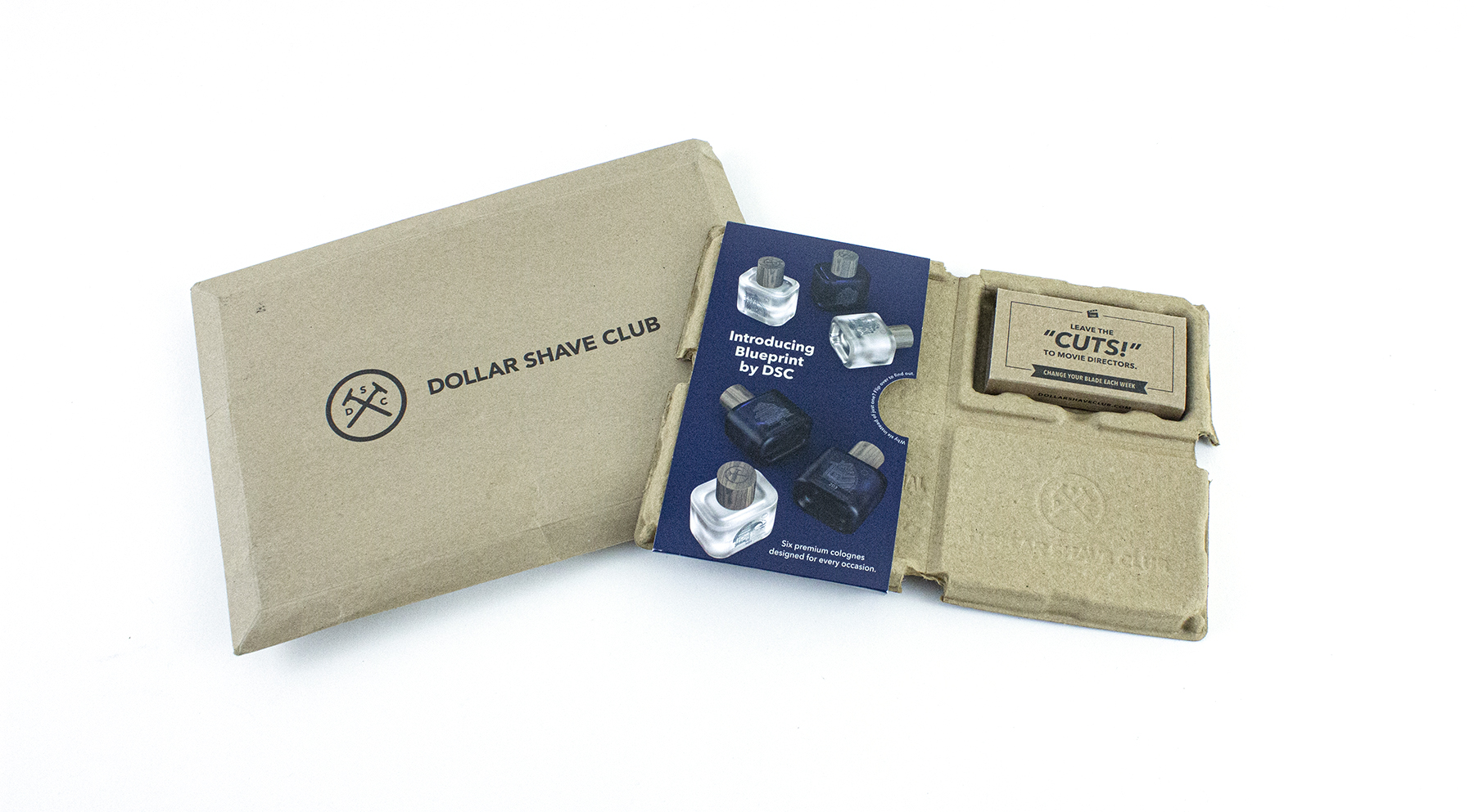 Dollar Shave Club product packaging prevents products from moving around during shipment.