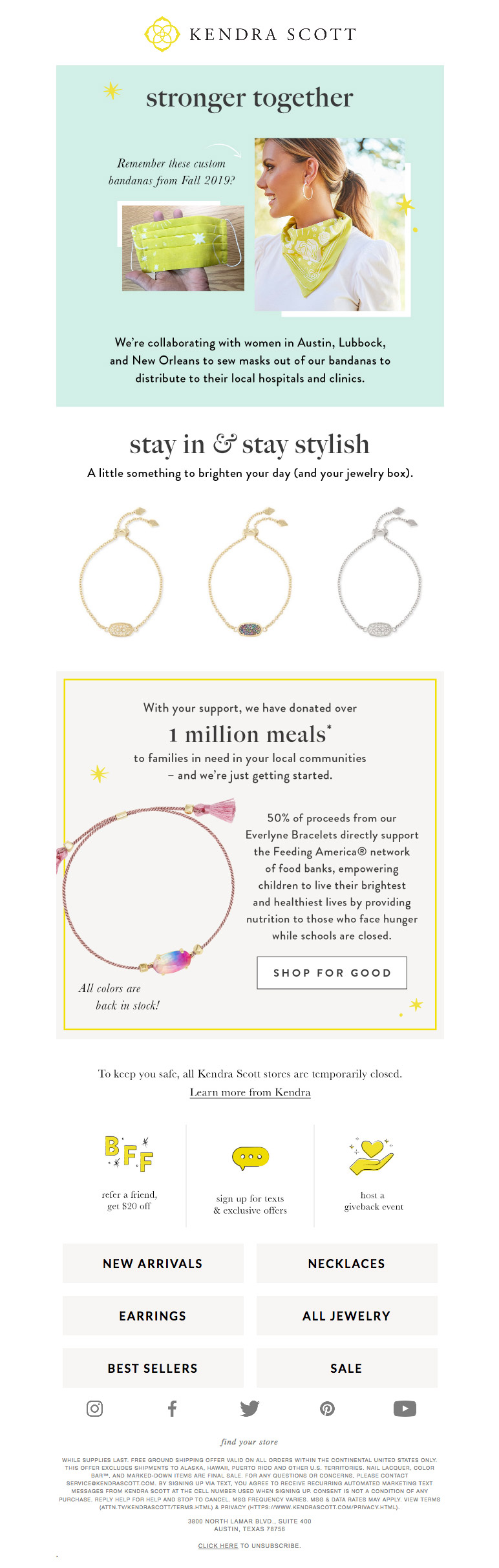Kendra Scott used a new email layout to communicate important coronavirus-related information.