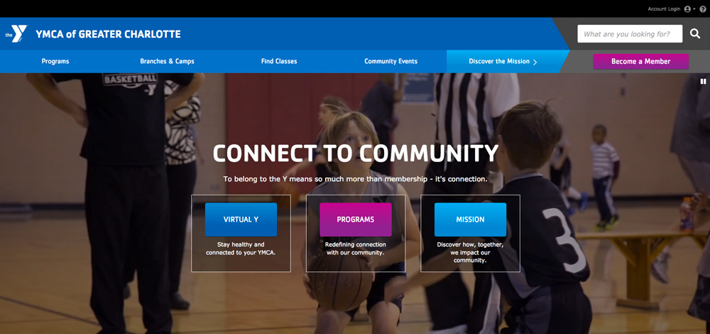 In response to the coronavirus, the YMCA updated its homepage layout to better direct traffic to its online services.