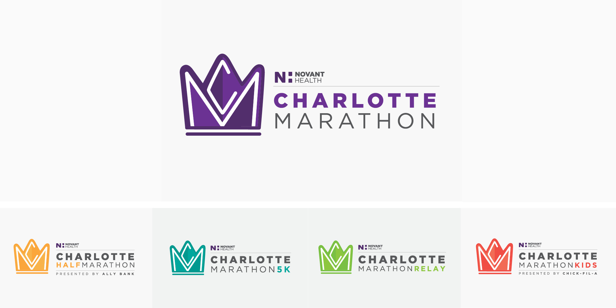 The Charlotte Marathon logos use bright and energetic colors to convey excitement and positivity.