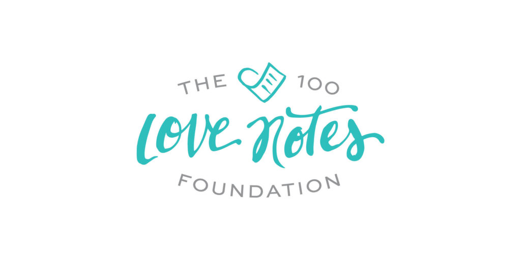 The 100 Love Notes Foundation logo designed by Moonlight Creative.